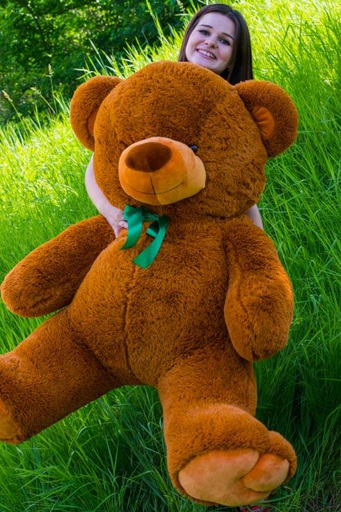 Коричневый плюшевый медведь Сеня