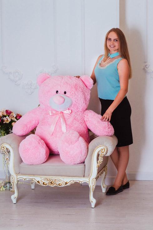 Большой плюшевый мишка Плюх - розовый